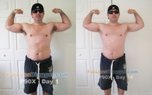 P90X Day 1 and Day 14 Pictures - Front Bicep