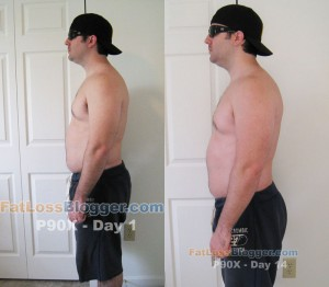 P90X Day 1 and Day 14 Pictures - Side Left