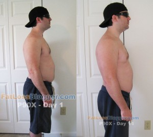 P90X Day 1 and Day 14 Pictures - Side Right