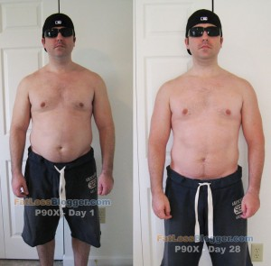 P90X Results - Front Day 1 vs. Day 28