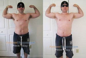 P90X Results - Front Bicep Day 1 vs. Day 28