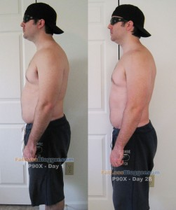 P90X Results - Side Left Day 1 vs. Day 28