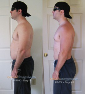 P90X Day 1 and Day 42 Comparisons - Side Left