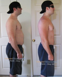 P90X Day 1 and Day 42 Comparisons - Side Right