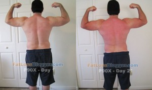 P90X Day 21 vs. Day 1 Pictures - Back Bicep