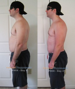 P90X Day 21 vs. Day 1 Pictures - Side Left